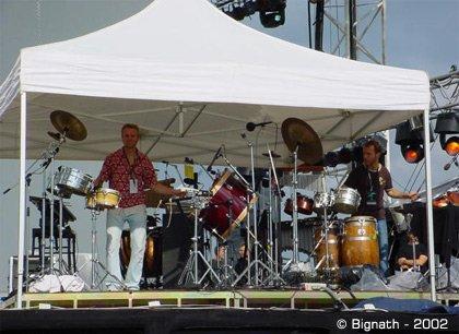 Le groupe Safri Duo, pendant les répétitions d'Aero au Danemark, en 2002.