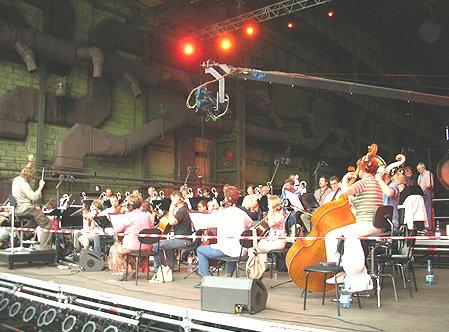 L'orchestre du Philharmonique Baltique répète avant le concert de Jarre à Gdansk