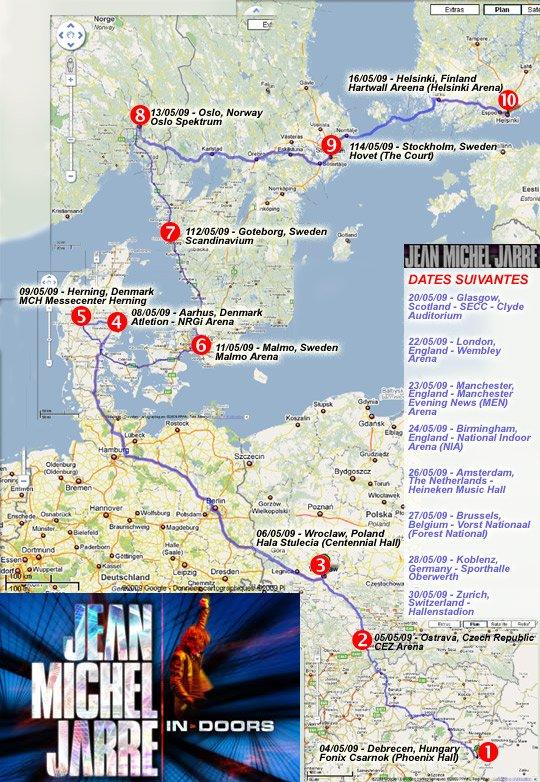 La carte des 10 premières dates de la tournée In-doors