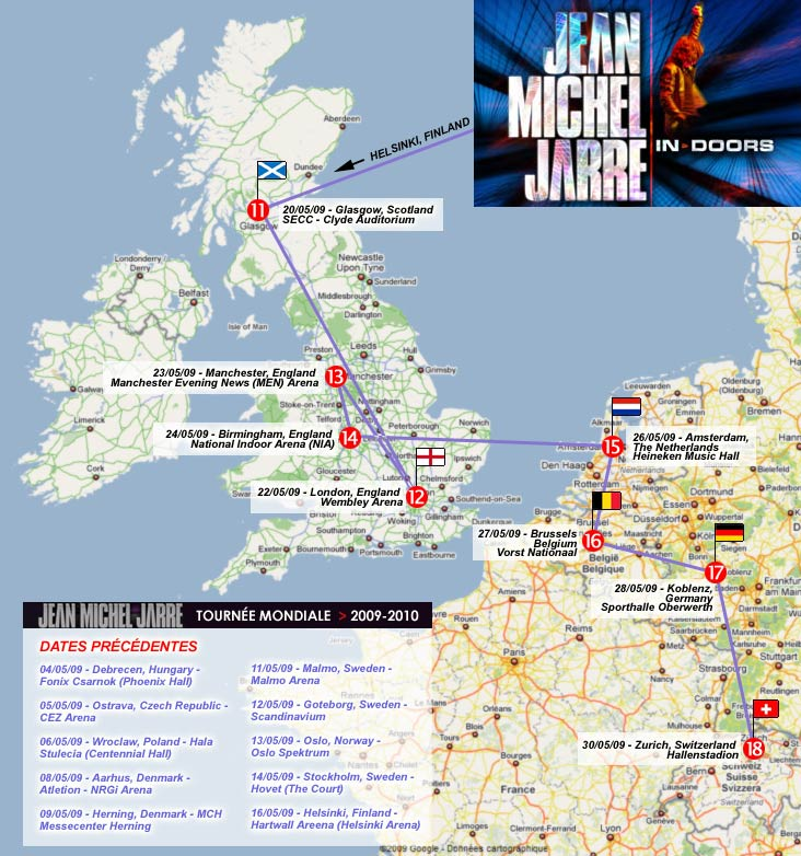 Les 8 dernières dates de la première partie de la tournée mondiale In-doors de Jarre en 2009