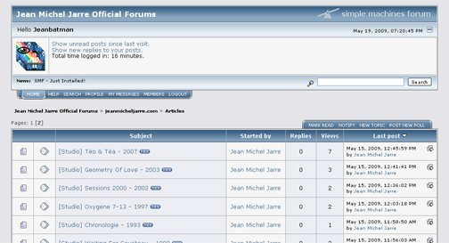 Premier screenshot du premier forum de jeanmicheljarre.com