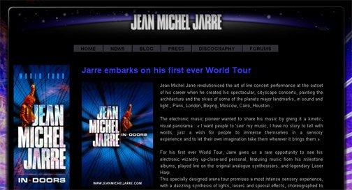 Exemple de page de news du nouveau site jeanmicheljarre.com