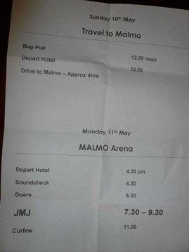 La feuille de route pour être dans le timing à Malmö.