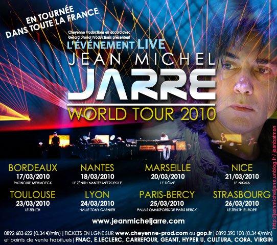 Les dates de la tournées française de Jarre en 2010