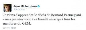 Réaction de Jean Michel Jarre à la mort de Bernard Parmegiani
